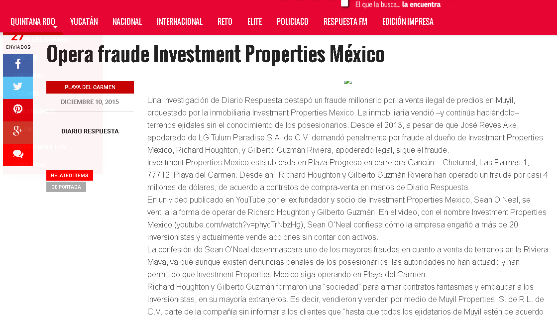 Investment properties Mexico scam