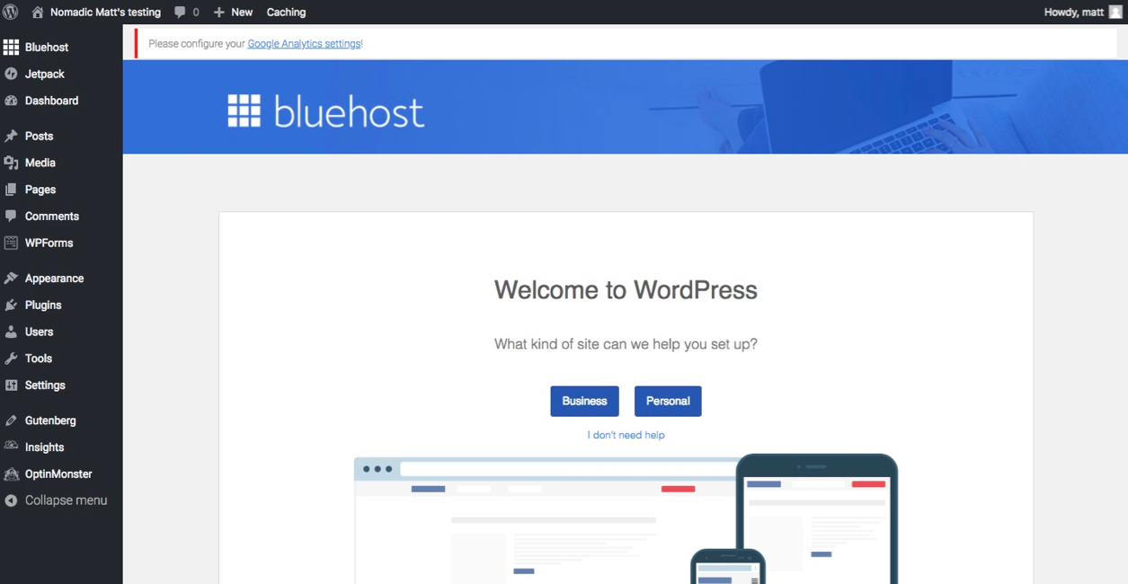 wordpress with bluehost