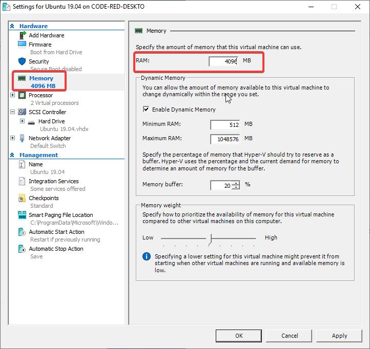 Hyper-V alterar as configuração da máquina virtual