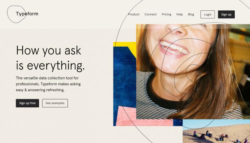 Screenshot of typeform homepage