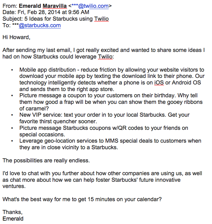 an example of a good pitch email to starbucks from twilio.