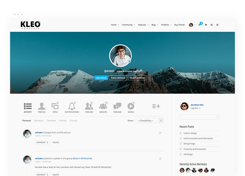 kelo wordpress forum theme user account page