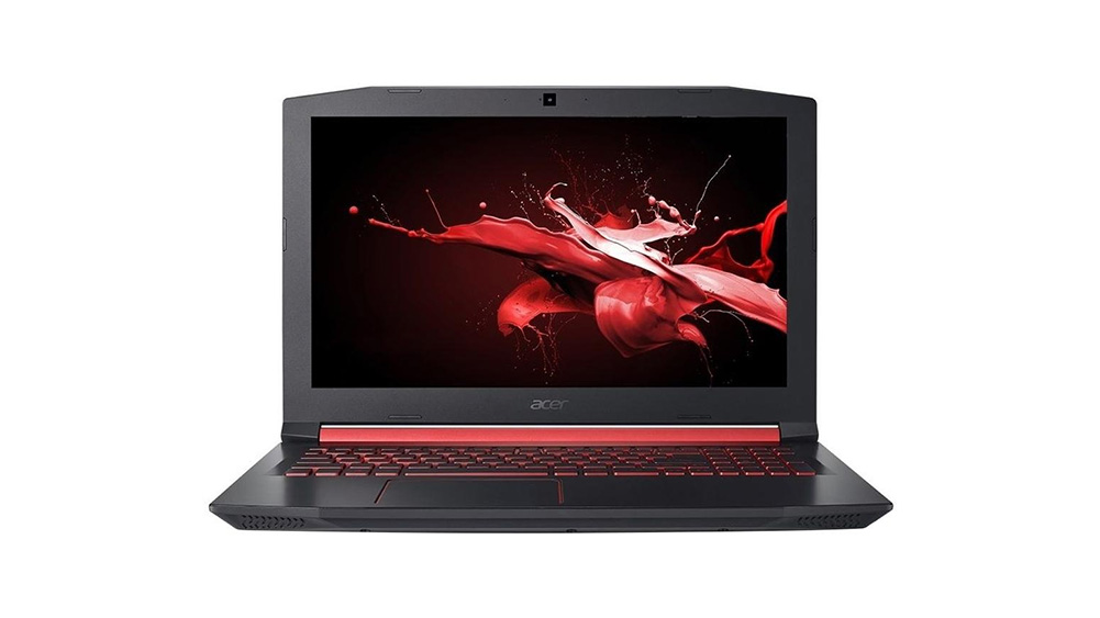 ACER notebook gamer, preto e vermelho sobre fundo branco