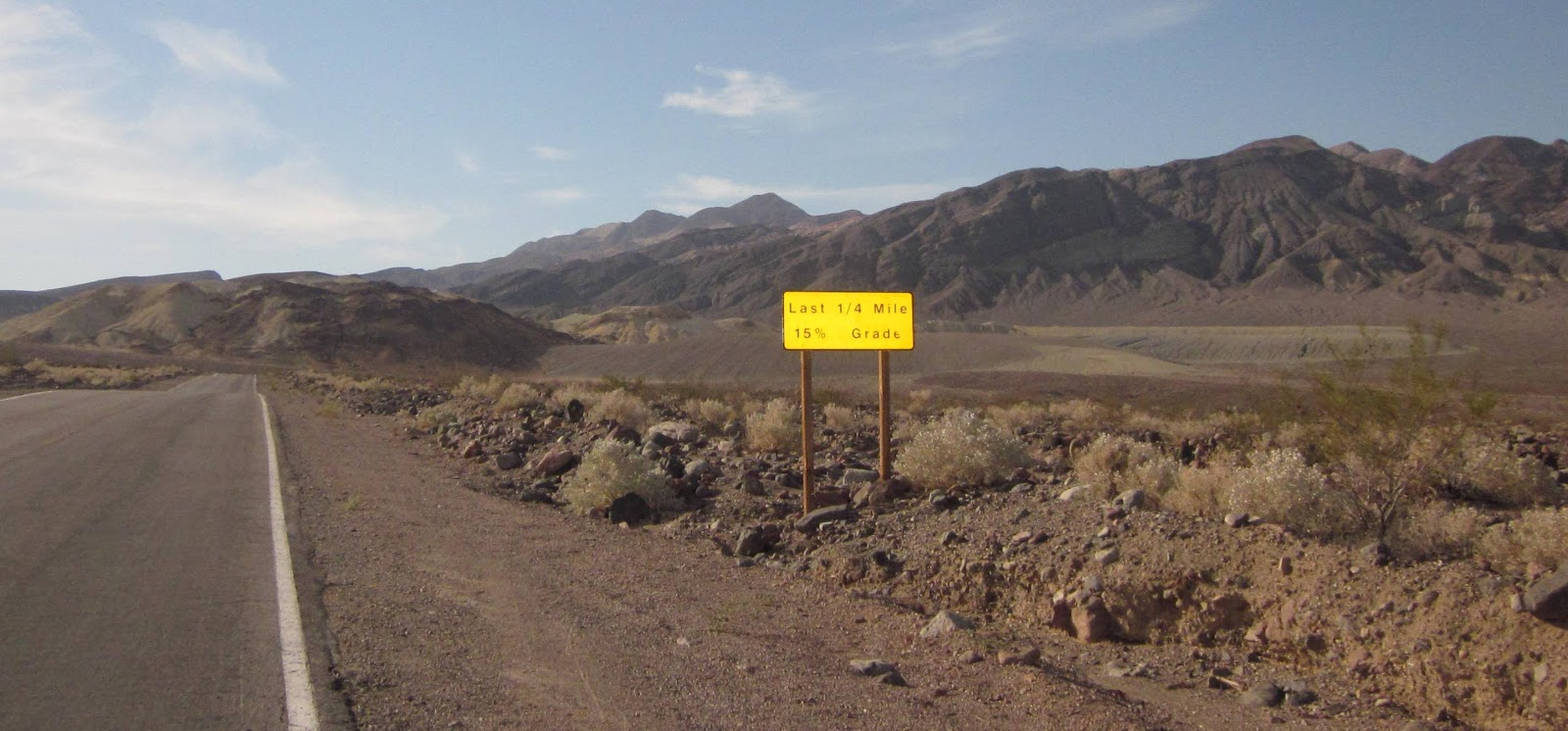 Cycling Dantes View Death Valley - Last 1/4 Mile 15% Grade sign