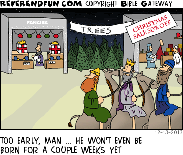 wisemen christmas tree cartoon