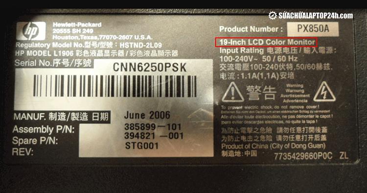 Tem sản phẩm ghi chú các thông số của máy tính