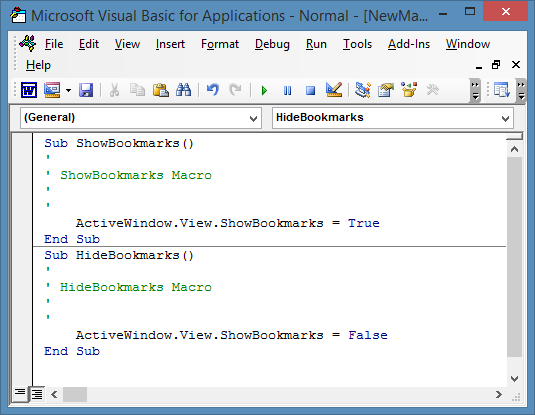View ShowBookmarks and HideBookmarks macro code.