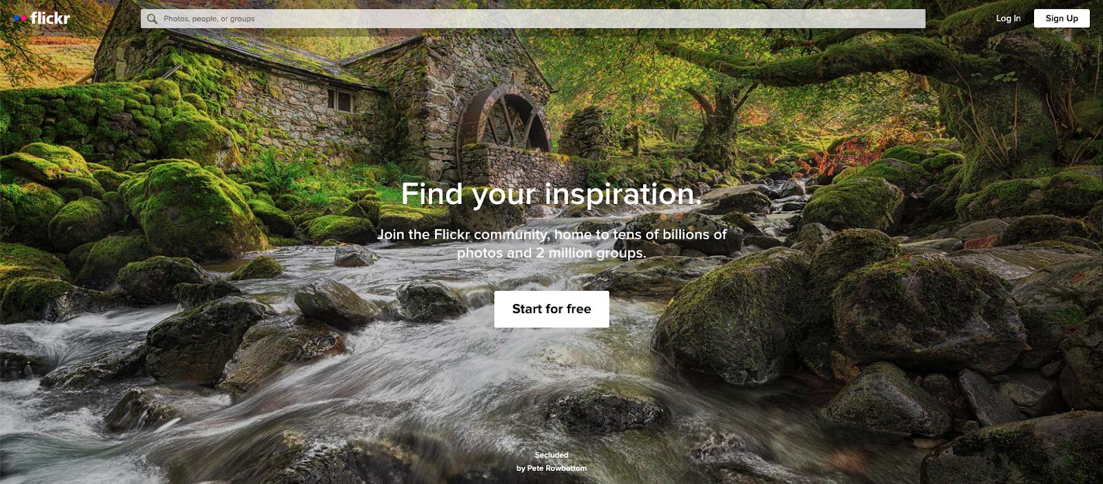 Flickr home page screengrab