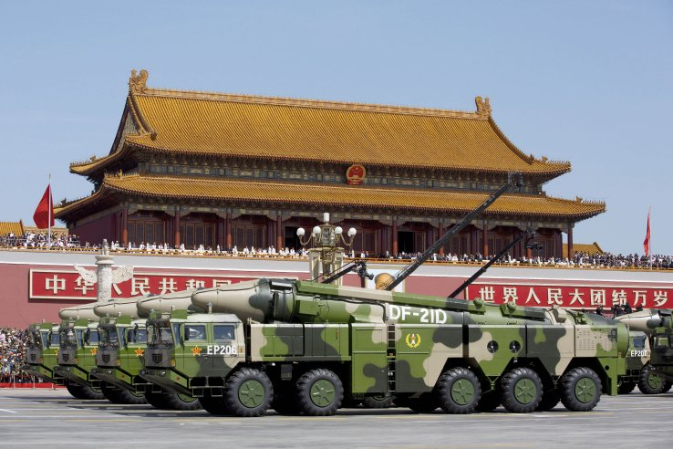 The DF-21D anti-ship ballistic missile was one of the key systems on show for the first time at China's 3 September military parade in Beijing. (AP/PA)