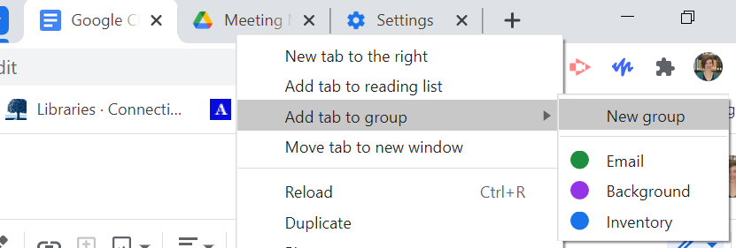 """Screen shot of """"Add tab to group"""" menu accessed by right clicking on tabs"""