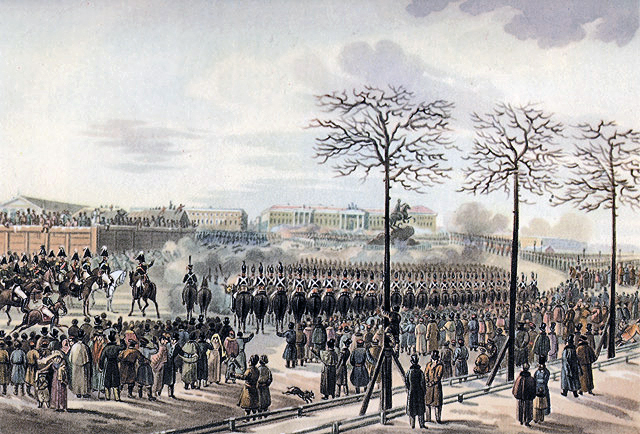 Russian troops firing on the Decembrists outside of the winter palace in St. Petersburg.