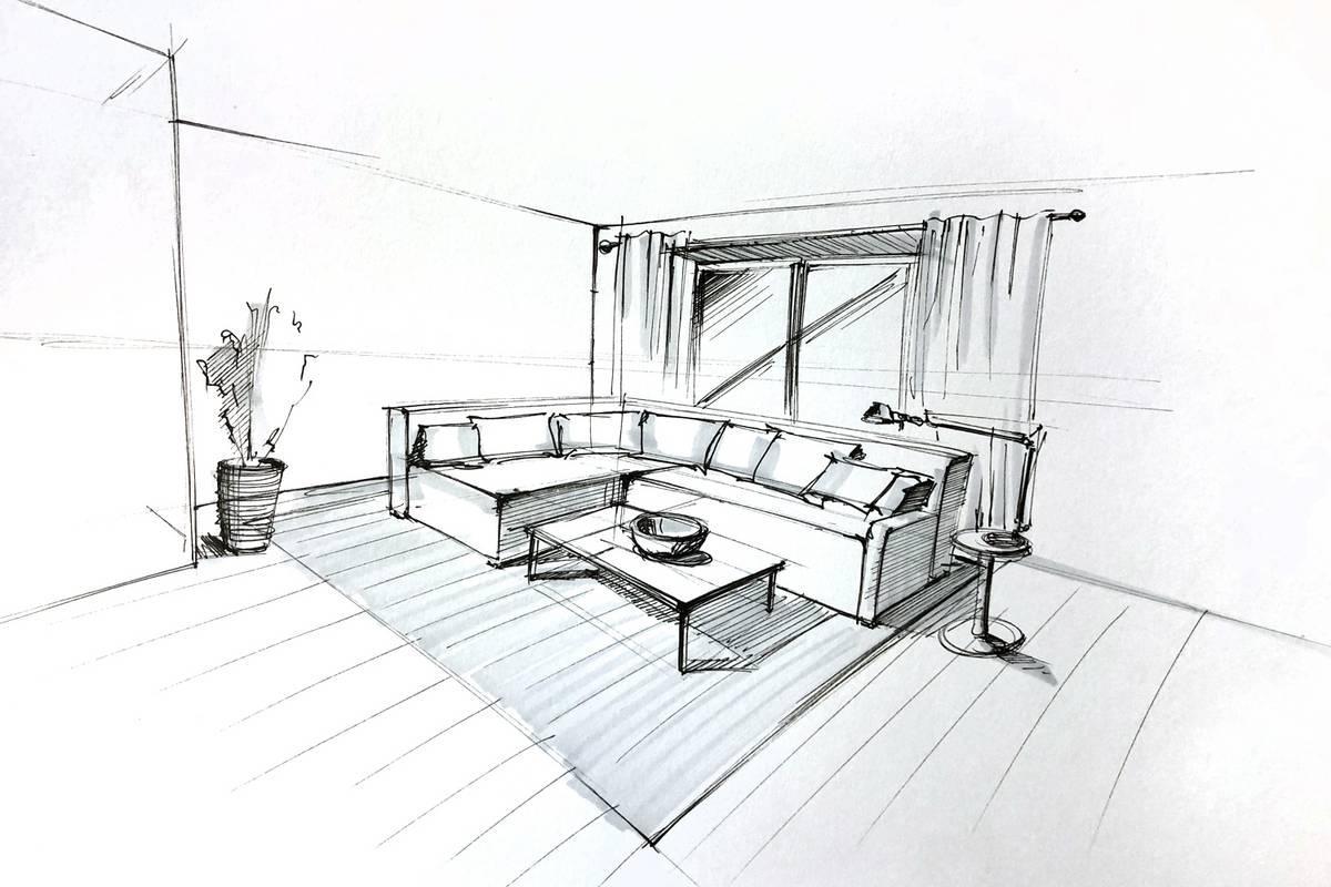 очертить пространство под мебель