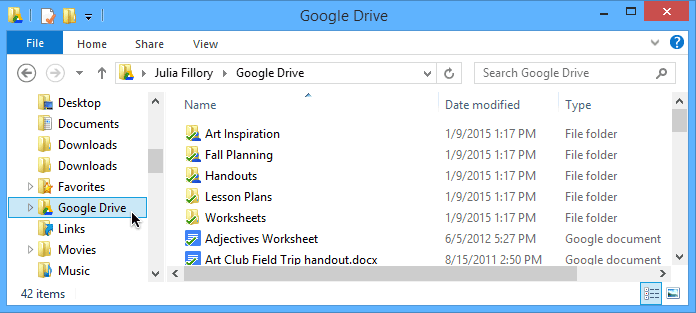 Screenshot of Google Drive for Desktop