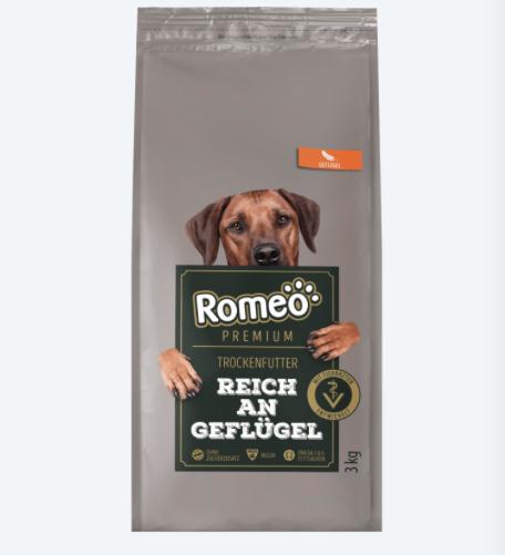 Romeo Hundefutter von Aldi Sorte Premium Reich an Geflügel