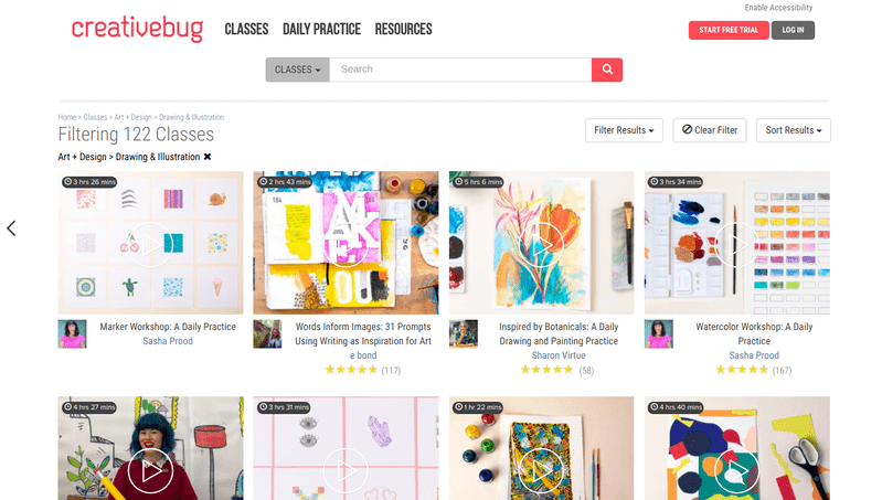 Creativebug is a platform that has classes for practically every type of artistic specialty, from drawing and painting to fashion illustration and color meditation.