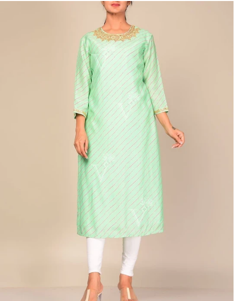 Turquoise Leheriya Gota Patti Kurti For Women