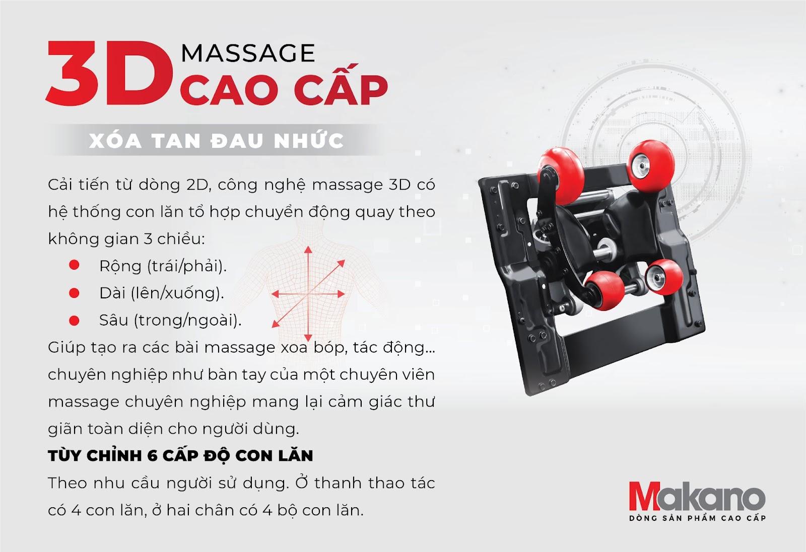 Con lăn 3D thường được dùng trong phân khúc ghế massage sang trọng