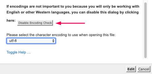 disable encoding check