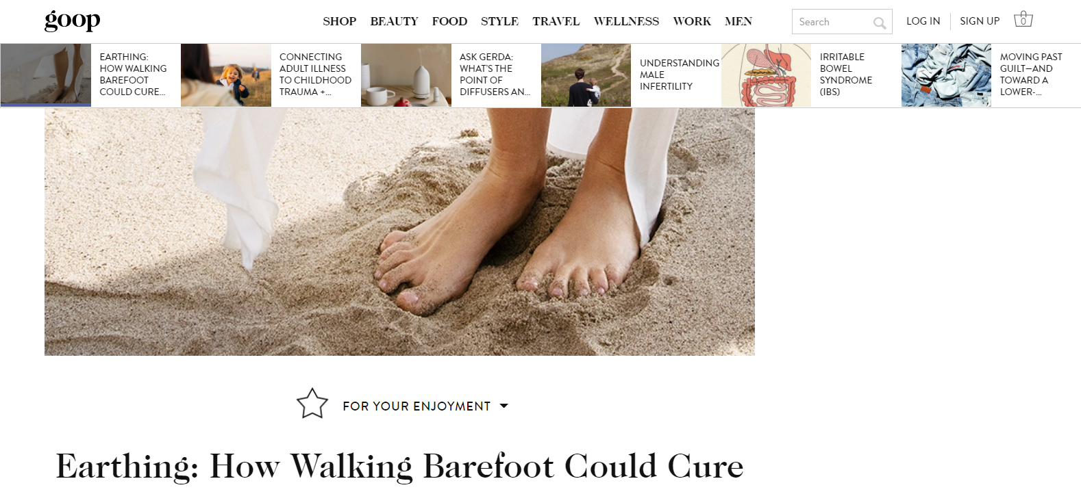 proof that you can sell feet pics - Goop.com using a feet photo to illustrate their article on the benefits of earthing