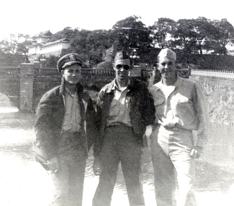 Fred (center) with shipmates Jim Rutherford and Ira Briehan at Emperor's Palace