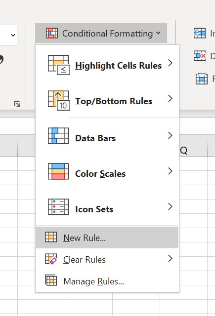 New rule for conditional formatting