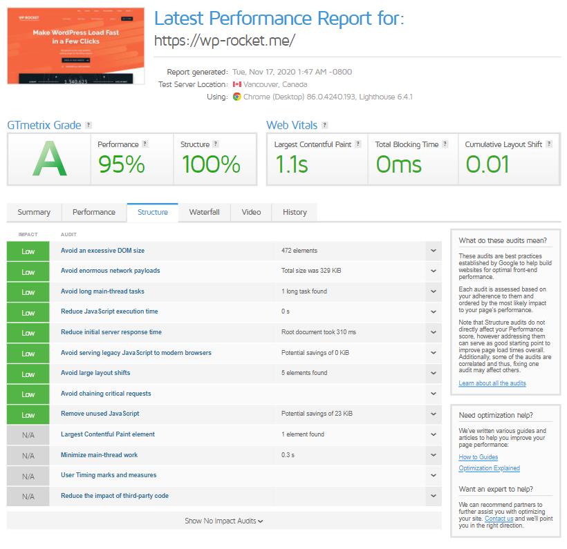 GTmetrix Report's new Structure tab