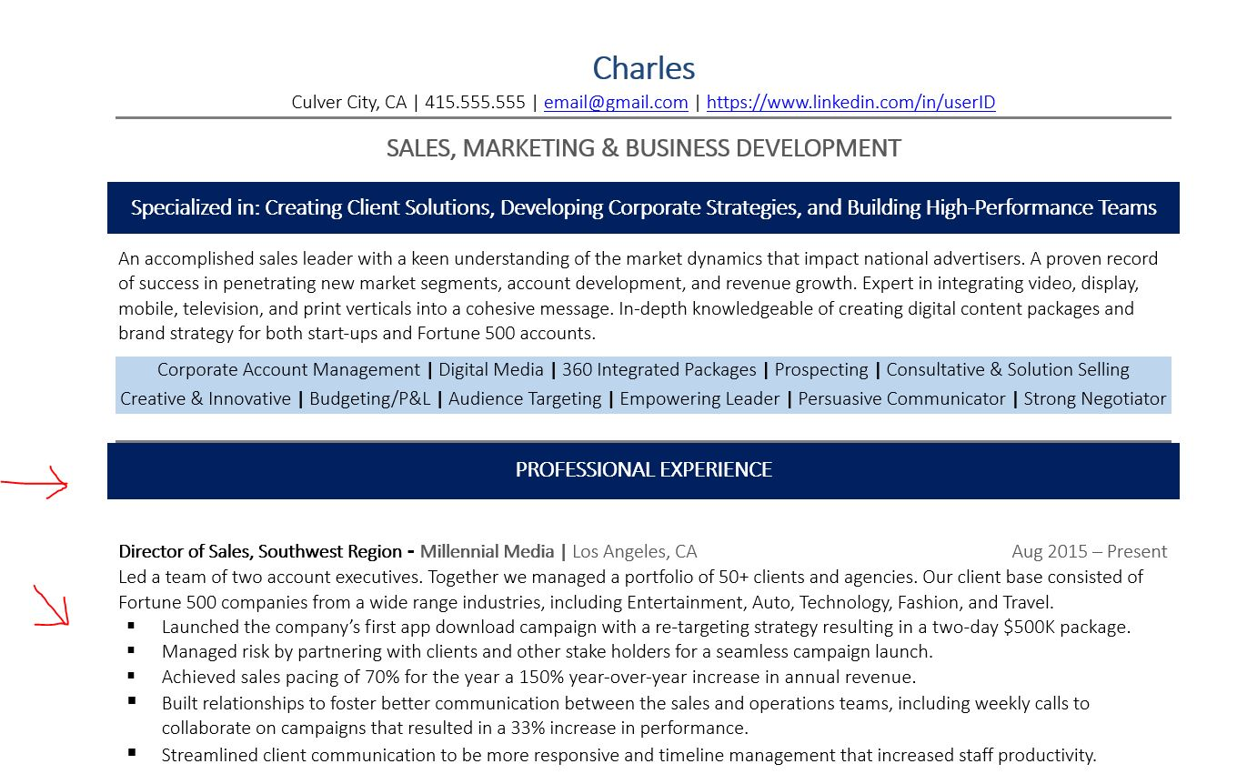 Example of resume professional experience section