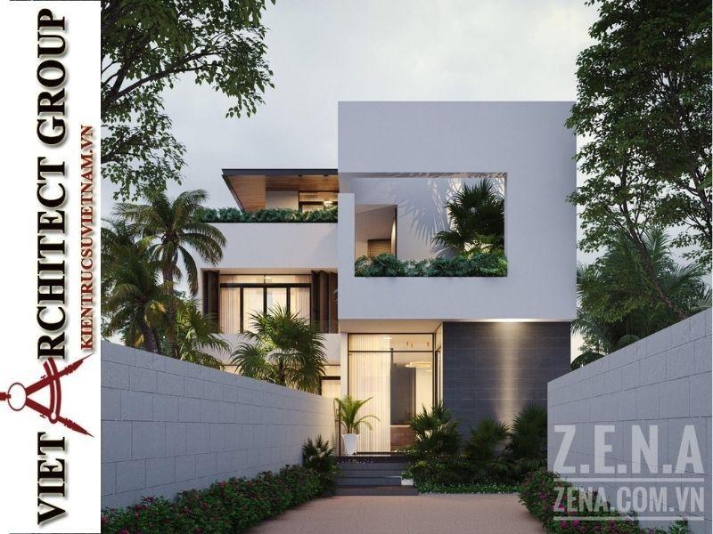 VIET ARCHITECT GROUP Thiết kế và thi công nhà mặt tiền 12m sâu 8m