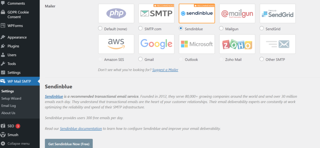 Image showing Sendinblue selected as the Mailer