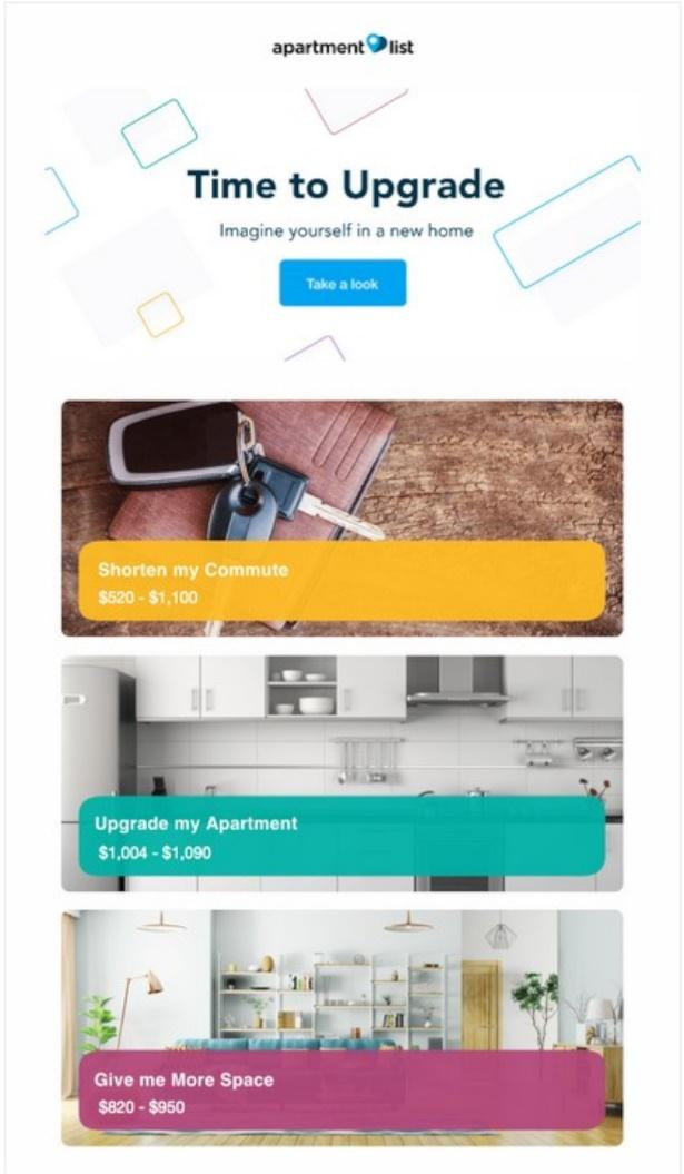 Start with a simple email design and add pops of tone to key features in your message. Take a look at this example from Apartment List.