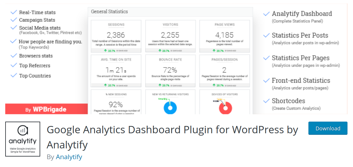 analytify wordpress google analytics plugin header