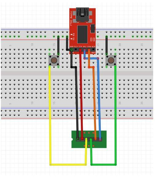 Circuit connections for FTDI with Witty Fox ESP32 Dev board