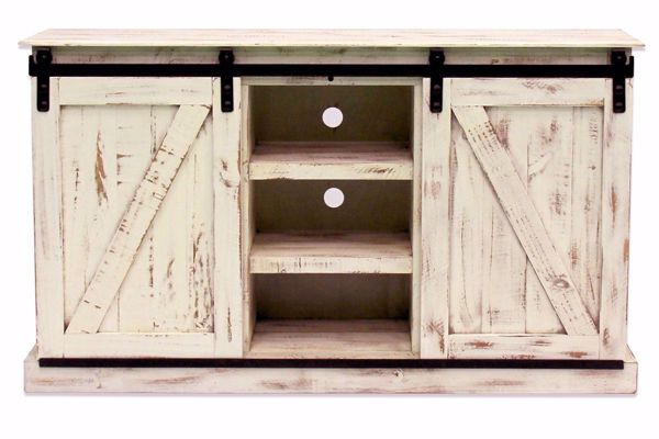 Picture of WHITE MEDIA CONSOLE WITH SLIDING BARN DOORS