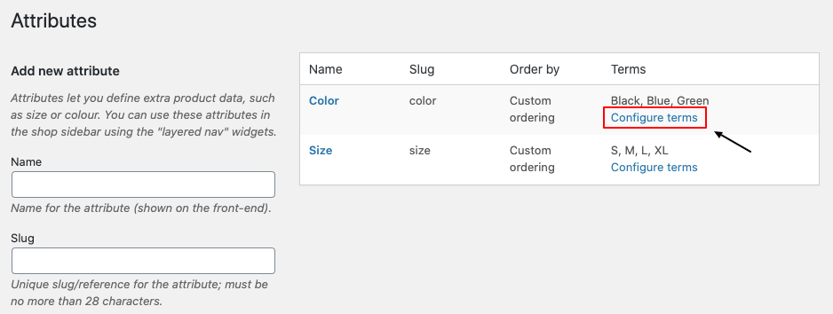 WooCommerce attribute terms
