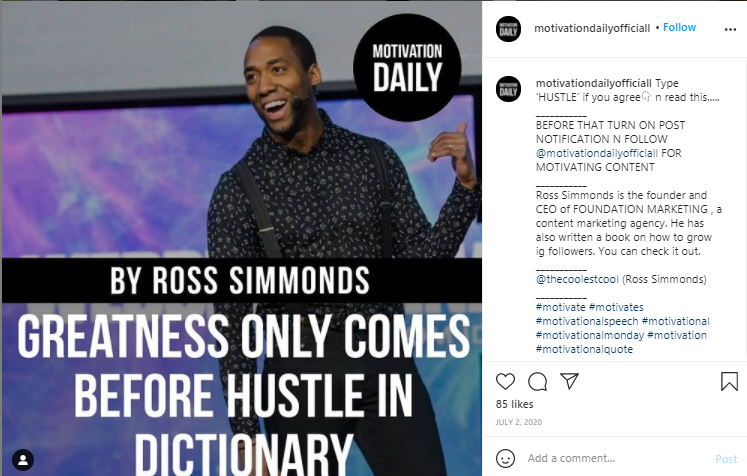 Ross Simmonds using shout outs on IG