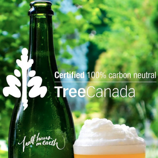 A graphic with the words 'Certified 100% Carbon Netural by Tree Canada' and the Half Hours on Earth logo in front of a bottle of beer with a green treed background