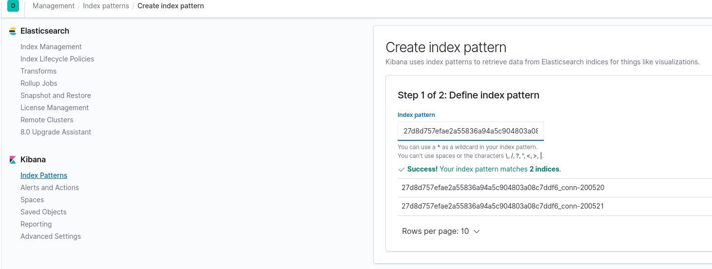 Create Index Pattern - Step1