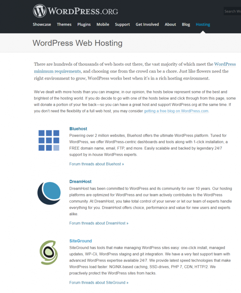 wordpress.org recommended hosting providers