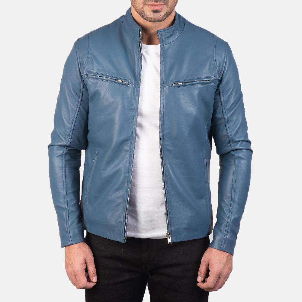blue cafe racer biker jacket
