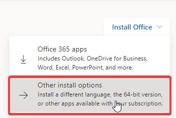 Instalação Office - Other install options