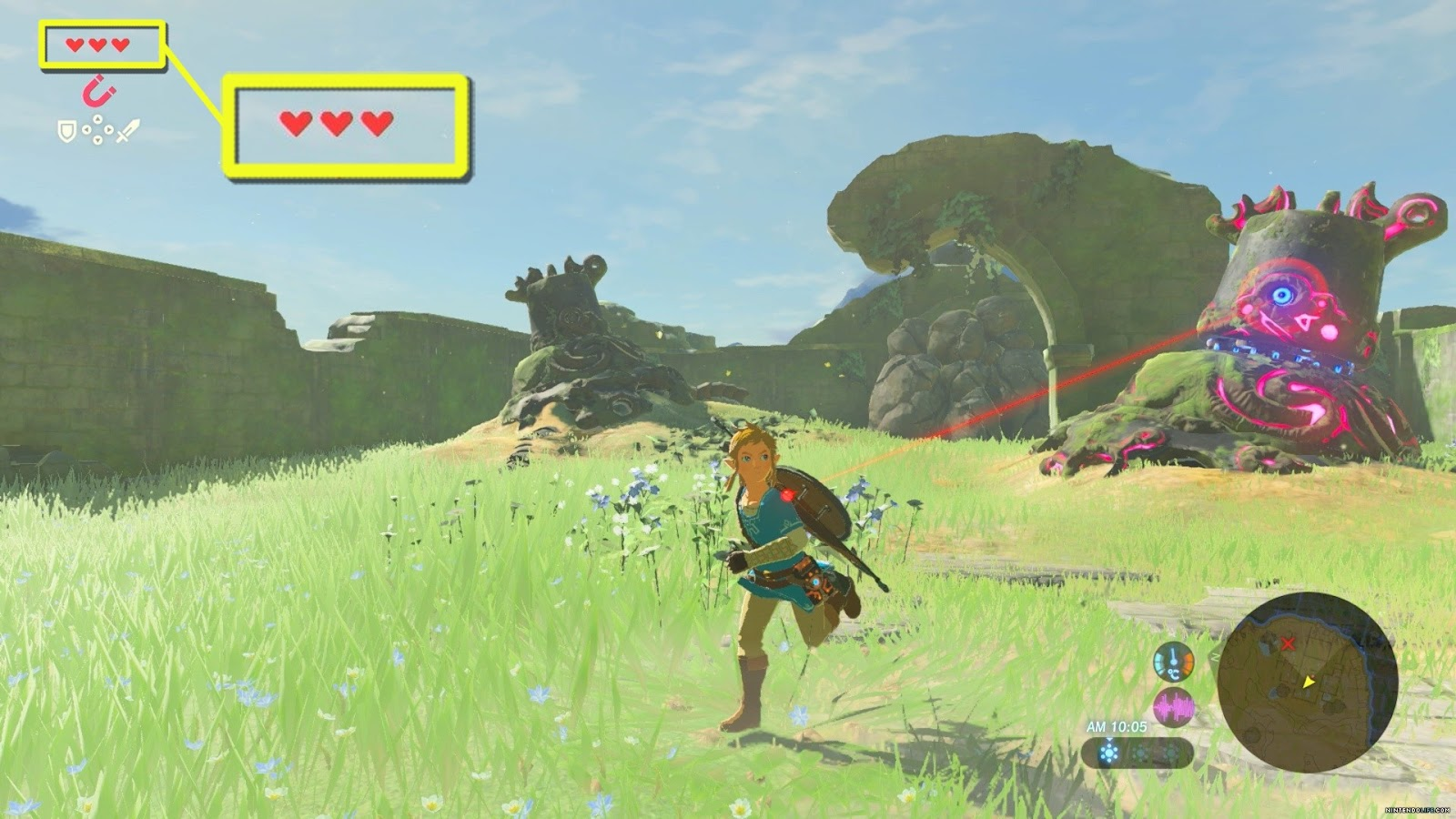 Breath of the wild screenshot, illustrating a lifebar
