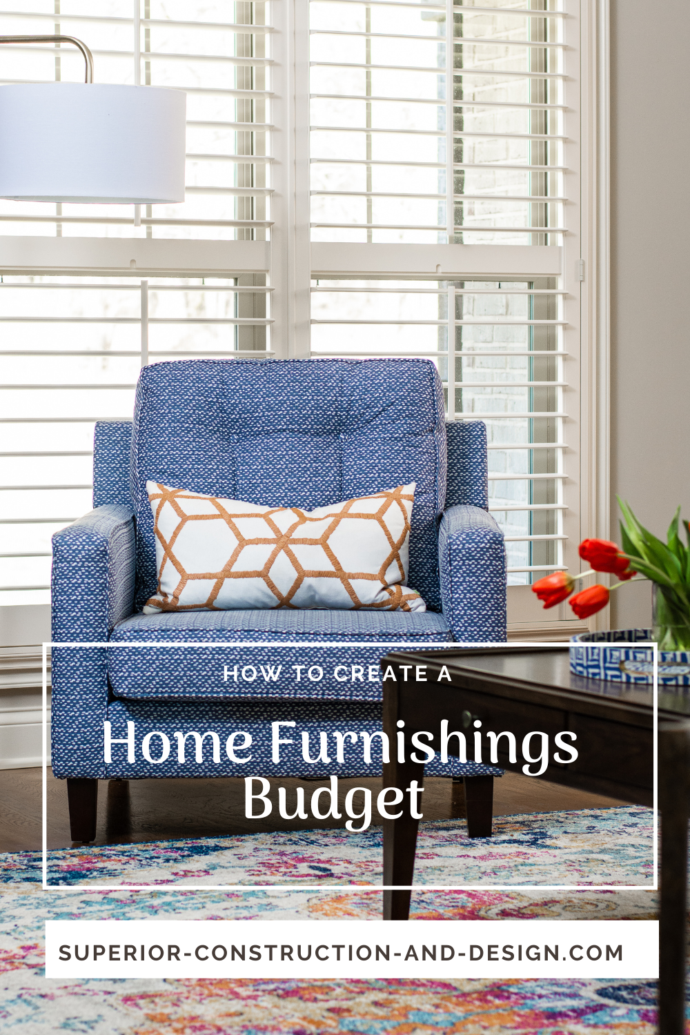 how to create a home furnishings budget blog post with chart