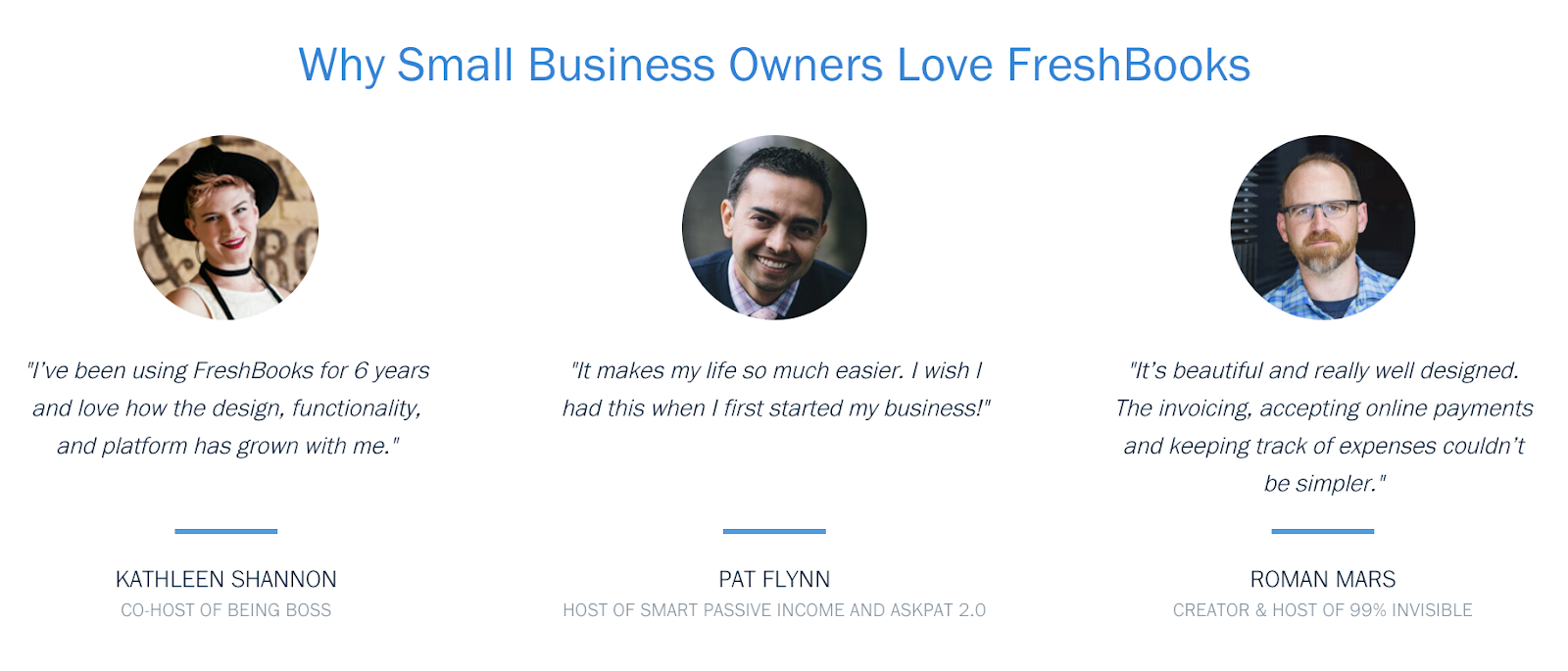 Freshbooks displays B2B testimonials from small business owners.