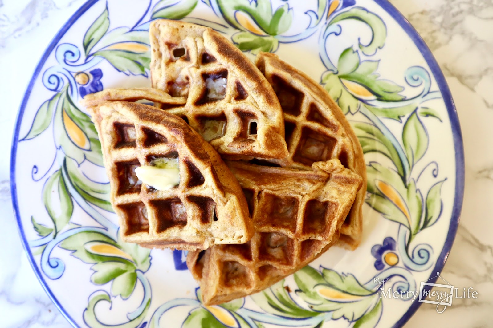 Buttery Einkorn flour, flax seed and healthy waffles!