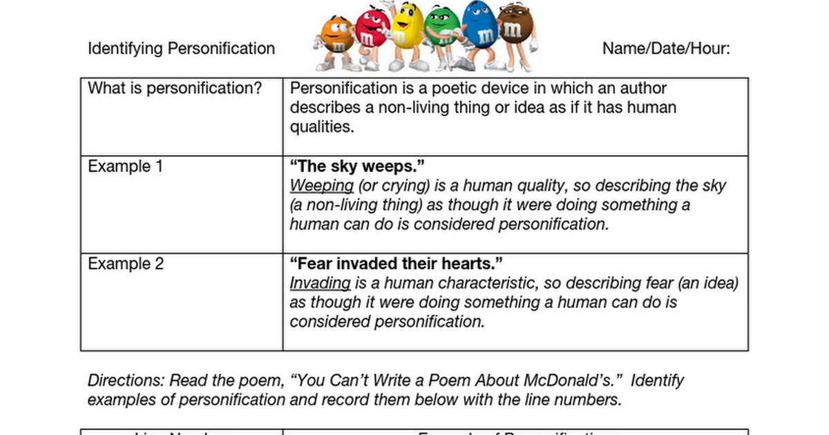 Identifying Personification Google Docs