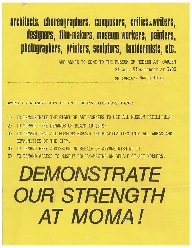 Flyer for demonstration on March 30, 1969.  Alfred H. Barr, Jr Papers, 1.489.  The Museum of Modern Art Archives, NY