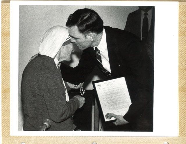 Former Mayor of Boston Ray Flynn with Mother Teresa at Harvard, 1982