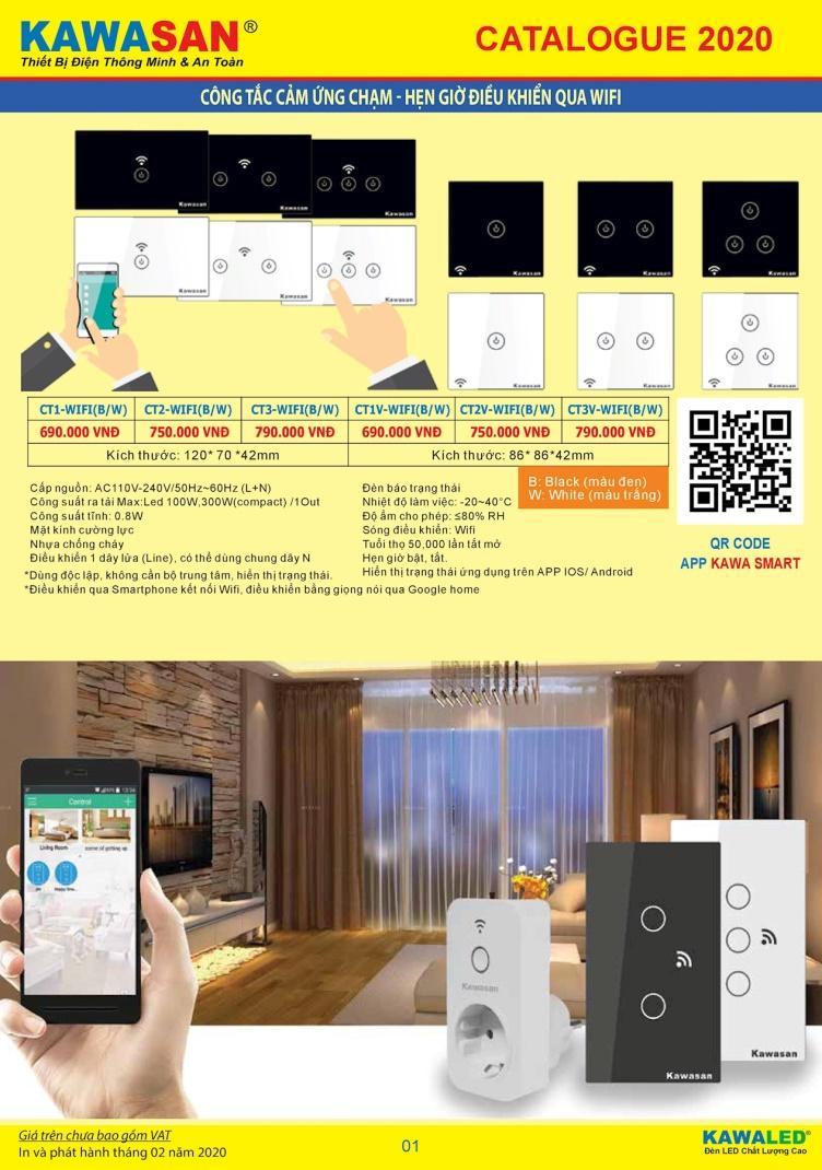 Công tắc ba Kawasan cảm ứng chạm wifi màu trắng | CT3-WIFI(W)