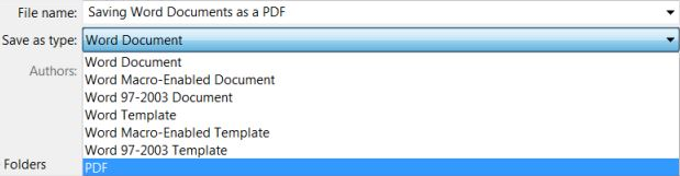Save as type option is selected and PDF is highlighted