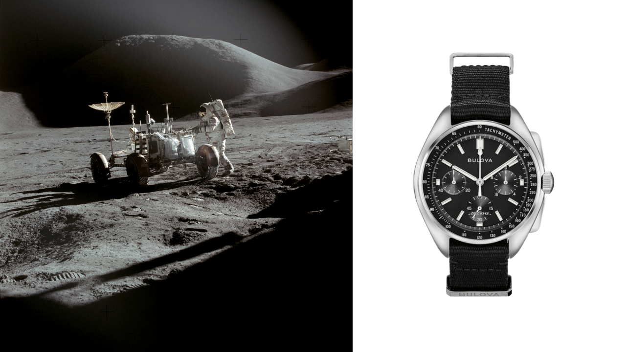 Photo of David Scott on the moon, and a photo of the Bulova Lunar Pilot watch